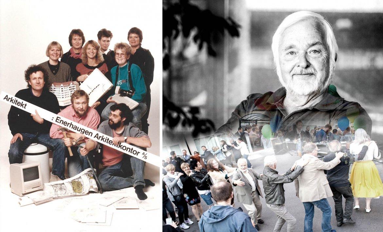 Bildekollasj som viser ulike hendleser fra Haralds liv på Enerhaugen Arkitektkontor gjennom årene