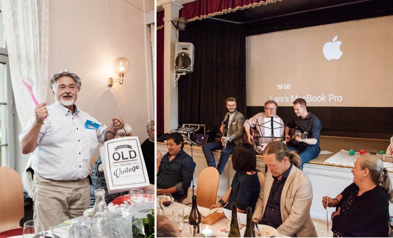 Ett bilde viser en mann som har mottått gaver i form av hatt og dusjbørste, et annet bilde viser tre syngende og spillende menn foran et publikum
