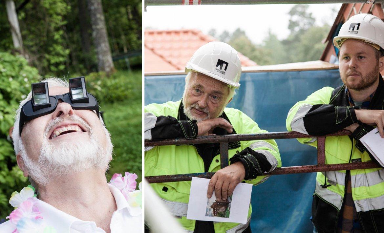 Et bilde av en mann med morsomme briller på. Eta nnet bilde av to menn på byggeplass
