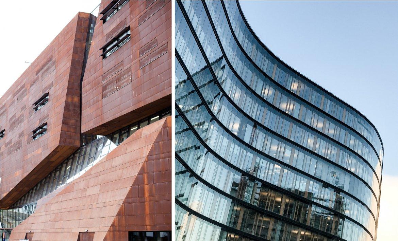 To bilder av fasadearkitektur. Ett bilde viser en kantete cortenstålfasade, det andre viser en bølgete glassfasade