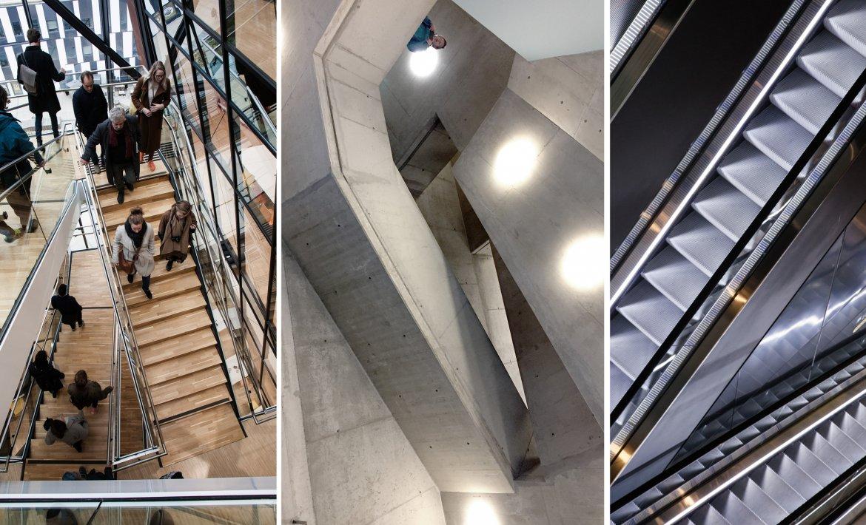 Tre bilder ved siden av hverandre med trapper og rulletrapper