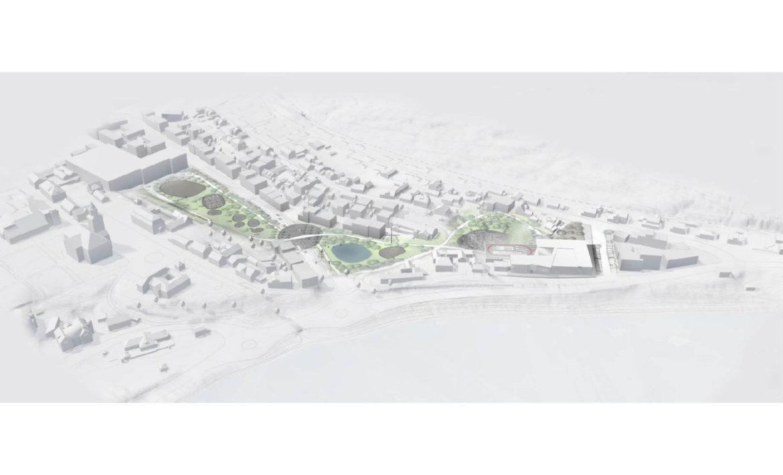 3D fugleperspektiv av skolegård og grøntarealer mellom Sløyfa og Krona