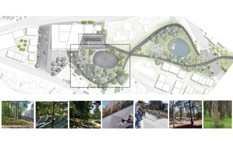 Utomhusplan med inspirasjonsfoto for nær skolegård
