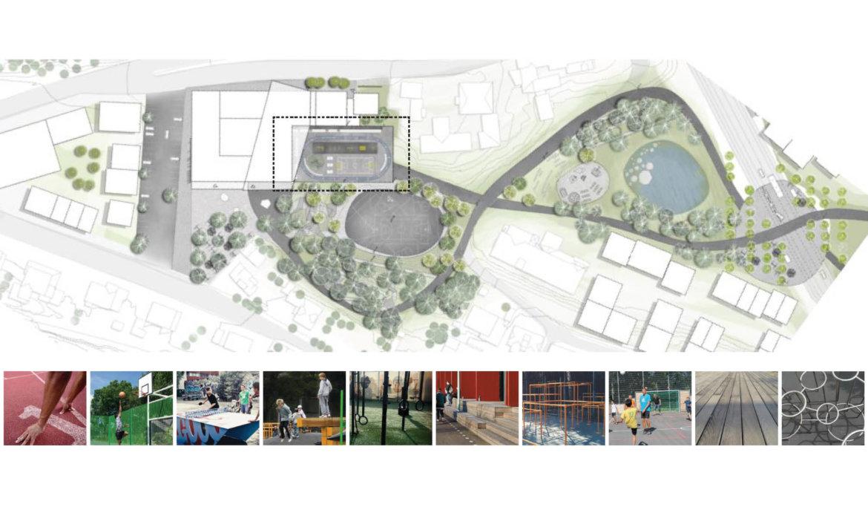 Utomhusplan med inspirasjonsfoto for takterrasse over idrettshall