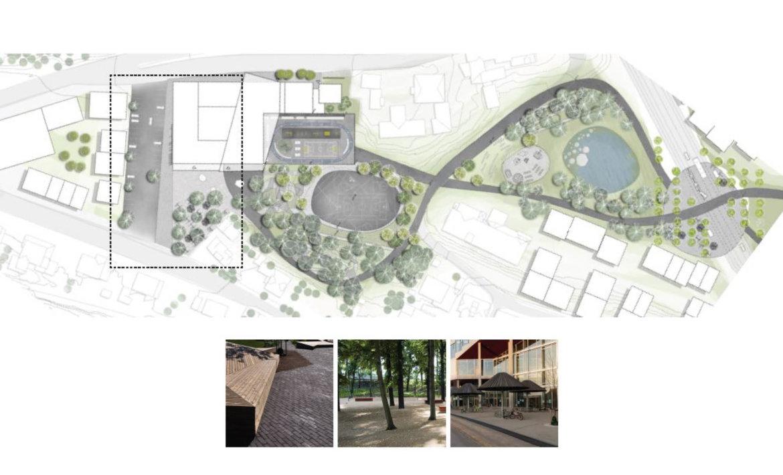 Utomhusplan med inspirasjonsfoto for parkering og adkomst til ungdommskolen