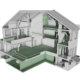3D-rendering av Holsts gate 3. Snitt gjennom bygningsmodellen som viser interiøret og rommenes plassering.