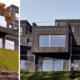Eksteriørfoto Sjøutsikten. Utkragende bokser og takterrasser skaper ulike nivåer og spill i fasaden.
