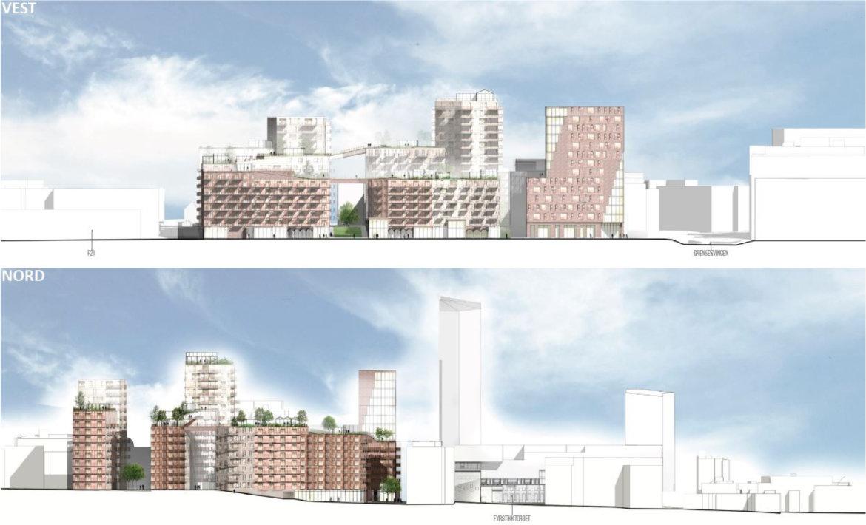 Stort boligprosjekt i grensesvingen - fasader og landskapssnitt