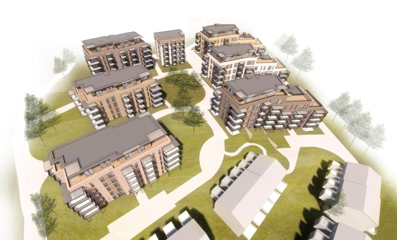 Kvernstua boligprosjekt - 3D-illustrasjon sett ovenfra. 7 ulike blokker.